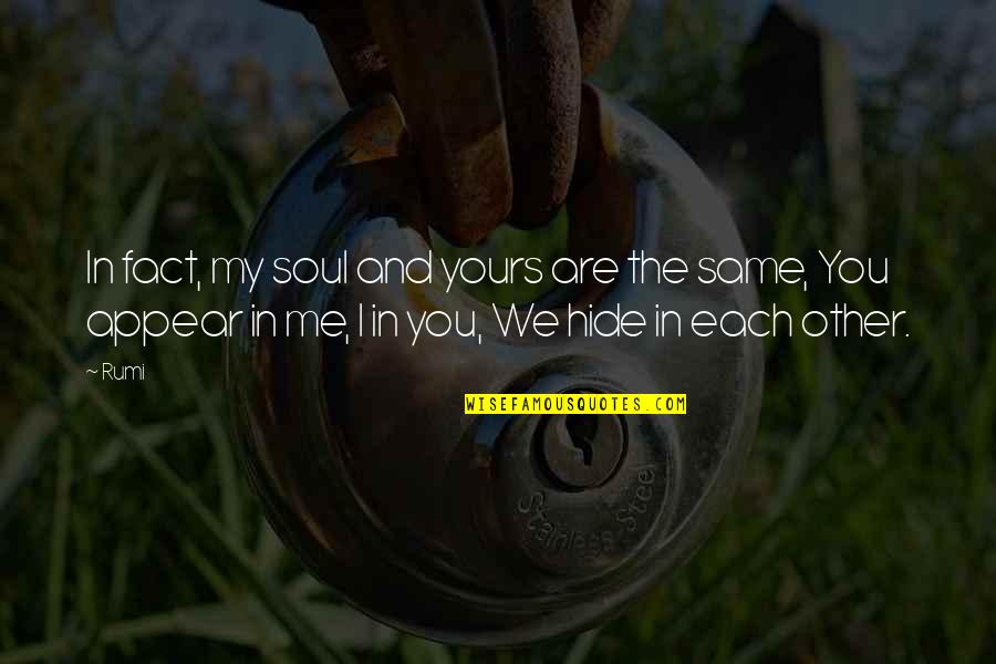 We Are The Same Quotes By Rumi: In fact, my soul and yours are the