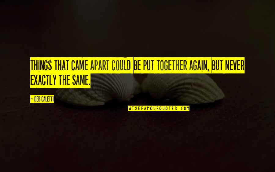 We Could Never Be Together Quotes By Deb Caletti: Things that came apart could be put together