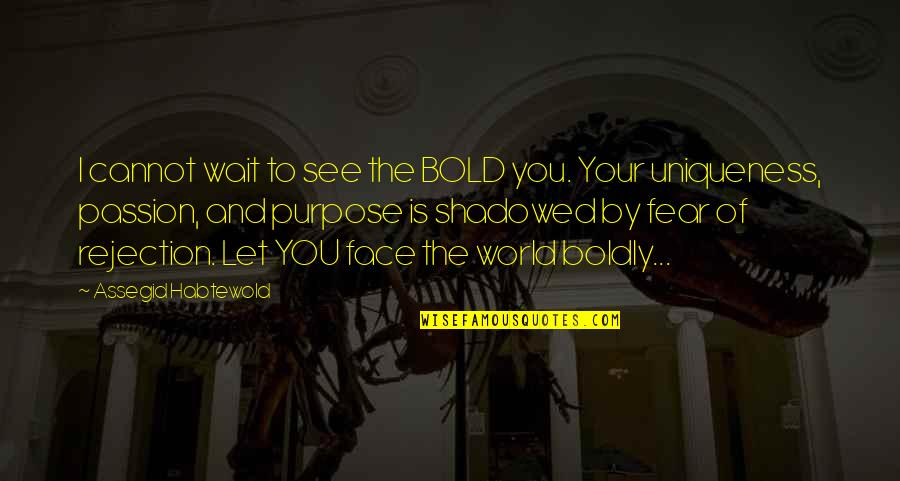 We Fear Rejection Quotes By Assegid Habtewold: I cannot wait to see the BOLD you.
