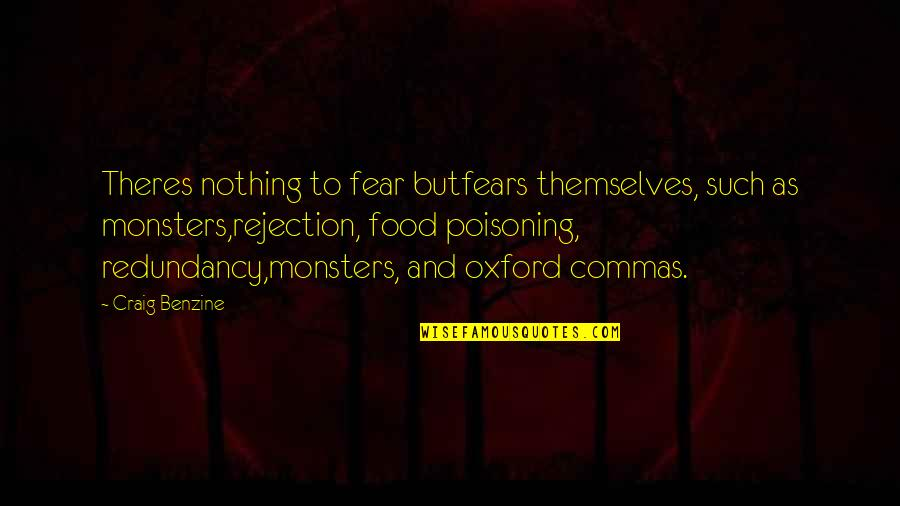 We Fear Rejection Quotes By Craig Benzine: Theres nothing to fear butfears themselves, such as