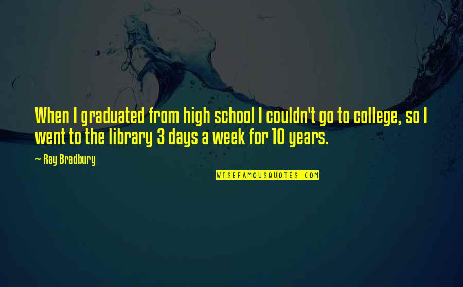 We Graduated Quotes By Ray Bradbury: When I graduated from high school I couldn't