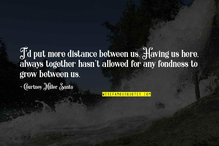 We Grow Up Together Quotes By Courtney Miller Santo: I'd put more distance between us. Having us