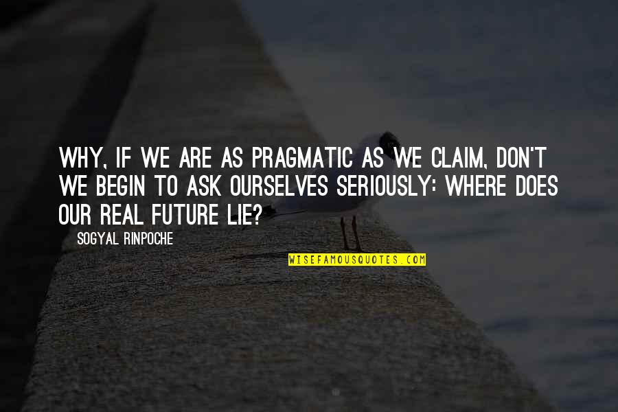 We Lie To Ourselves Quotes By Sogyal Rinpoche: Why, if we are as pragmatic as we