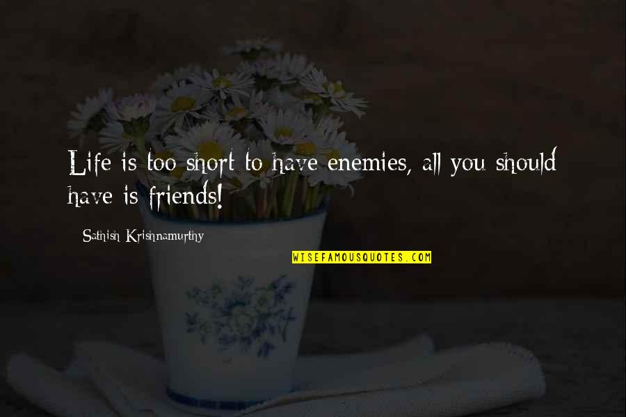 We Should Be More Than Friends Quotes By Sathish Krishnamurthy: Life is too short to have enemies, all