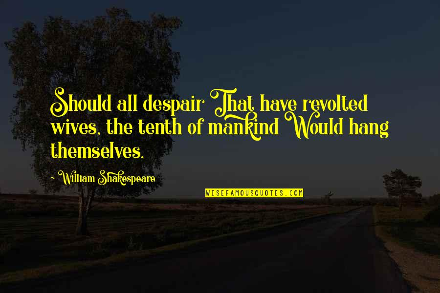 We Should Hang Out Quotes By William Shakespeare: Should all despair That have revolted wives, the