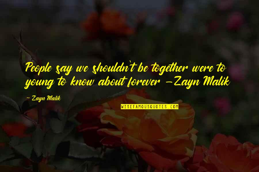 We Shouldn't Be Together Quotes By Zayn Malik: People say we shouldn't be together were to