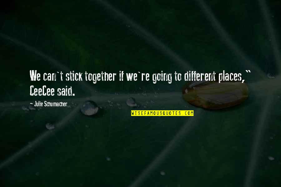 We Stick Together Quotes By Julie Schumacher: We can't stick together if we're going to