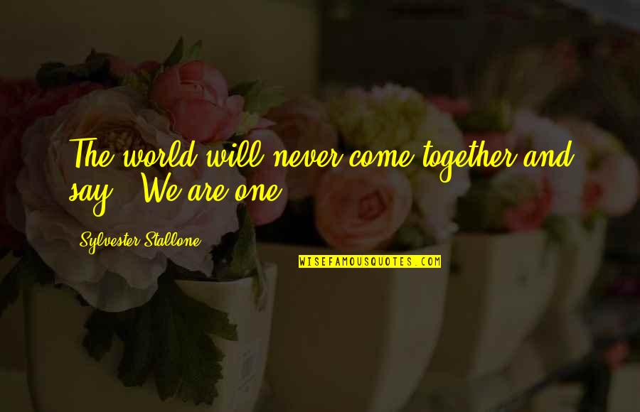 We Will Never Be Together Quotes By Sylvester Stallone: The world will never come together and say,