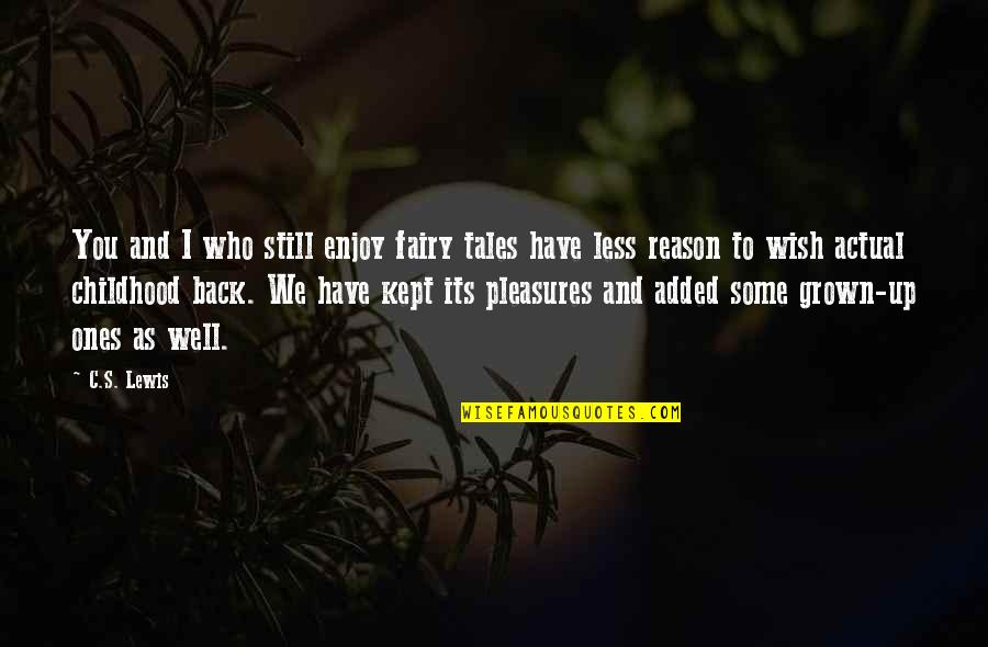 We Wish You Well Quotes By C.S. Lewis: You and I who still enjoy fairy tales