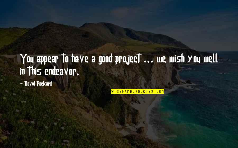 We Wish You Well Quotes By David Packard: You appear to have a good project ...