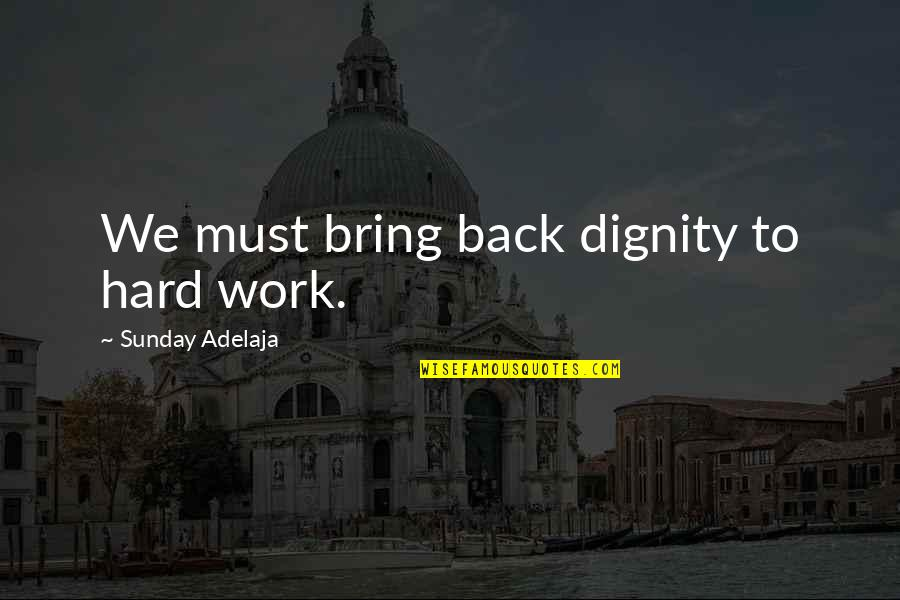 We Work Hard Quotes By Sunday Adelaja: We must bring back dignity to hard work.