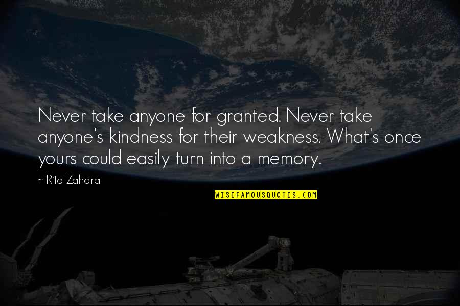 Weakness And Kindness Quotes By Rita Zahara: Never take anyone for granted. Never take anyone's