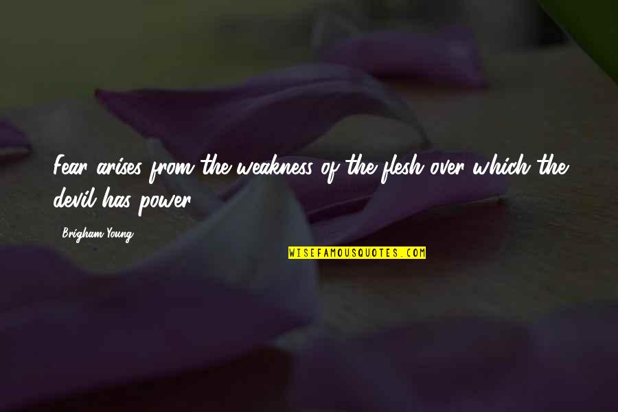 Weakness And Power Quotes By Brigham Young: Fear arises from the weakness of the flesh