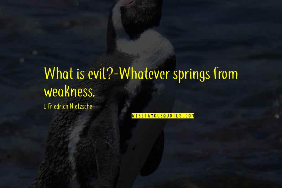 Weakness And Power Quotes By Friedrich Nietzsche: What is evil?-Whatever springs from weakness.