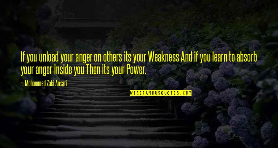 Weakness And Power Quotes By Mohammed Zaki Ansari: If you unload your anger on others its