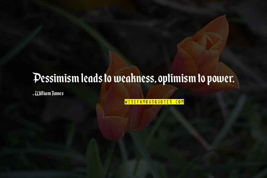 Weakness And Power Quotes By William James: Pessimism leads to weakness, optimism to power.