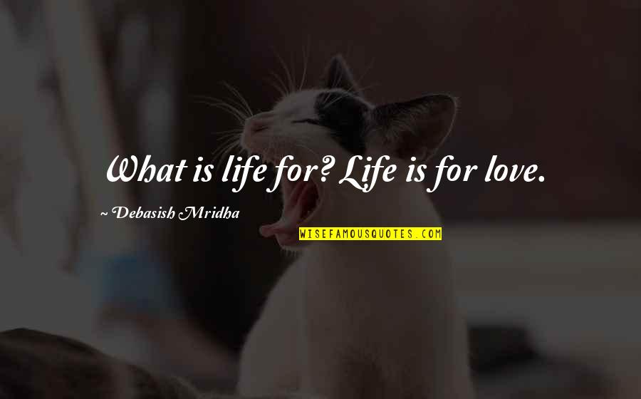 Wearyingly Quotes By Debasish Mridha: What is life for? Life is for love.