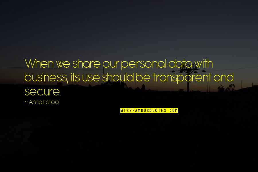We'be Quotes By Anna Eshoo: When we share our personal data with business,