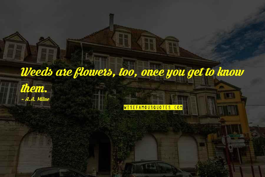 Weeds Quotes By A.A. Milne: Weeds are flowers, too, once you get to