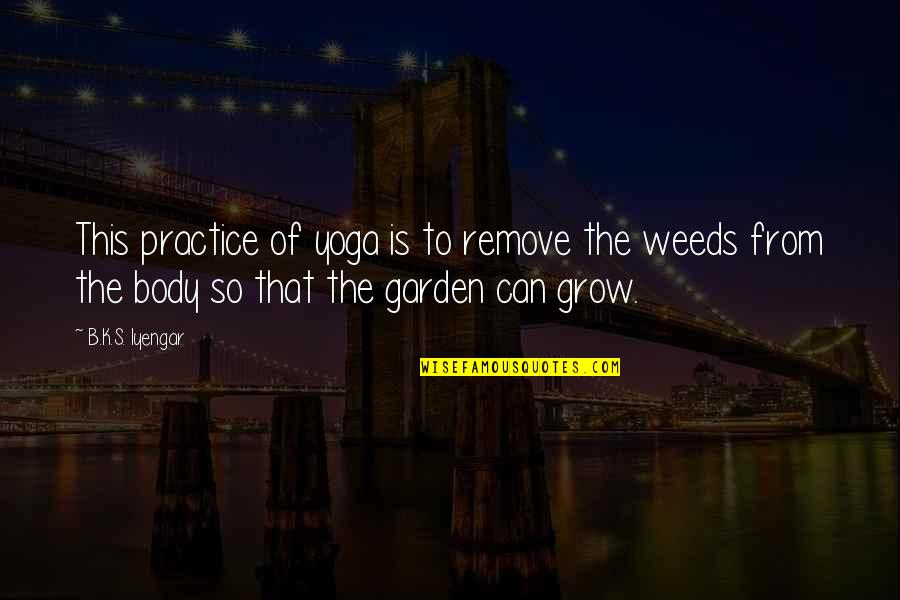 Weeds Quotes By B.K.S. Iyengar: This practice of yoga is to remove the