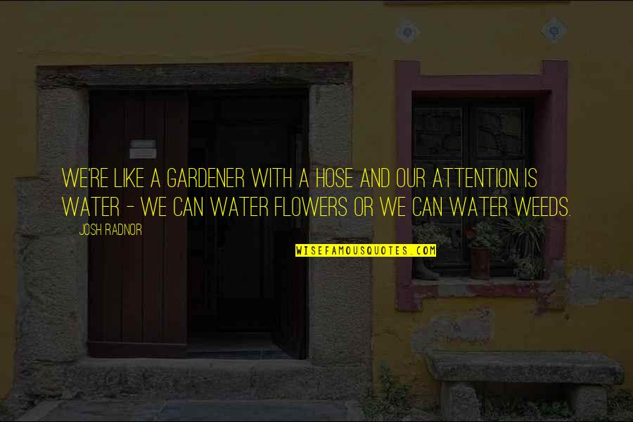 Weeds Quotes By Josh Radnor: We're like a gardener with a hose and