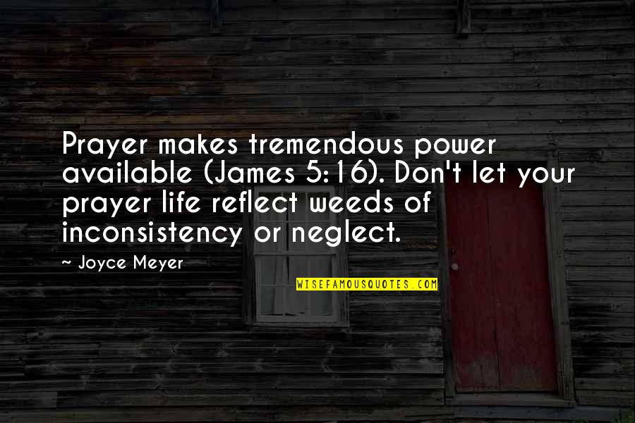 Weeds Quotes By Joyce Meyer: Prayer makes tremendous power available (James 5:16). Don't