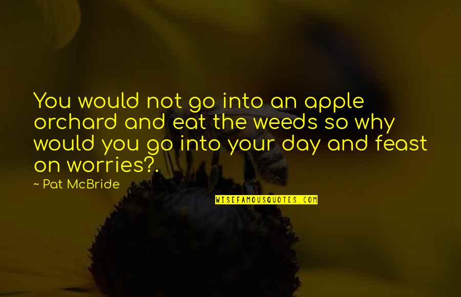 Weeds Quotes By Pat McBride: You would not go into an apple orchard