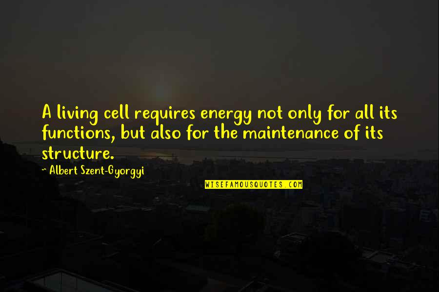 Weeekend Quotes By Albert Szent-Gyorgyi: A living cell requires energy not only for