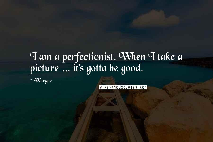 Weegee quotes: I am a perfectionist. When I take a picture ... it's gotta be good.