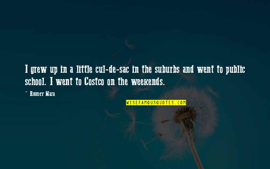 Weekends Quotes By Rooney Mara: I grew up in a little cul-de-sac in