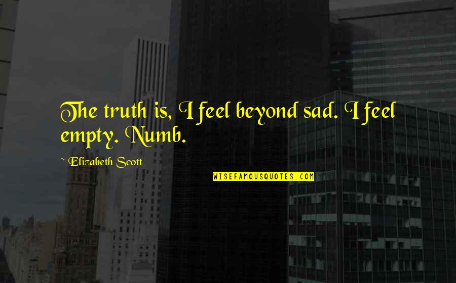 Weeping Boy Quotes By Elizabeth Scott: The truth is, I feel beyond sad. I