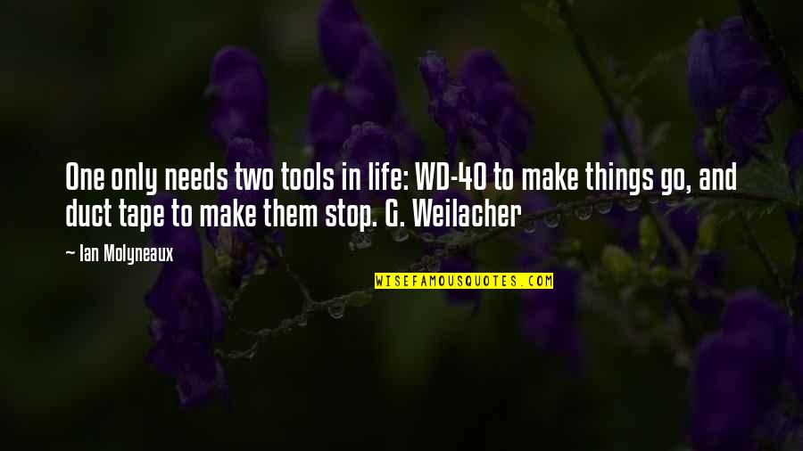 Weilacher Quotes By Ian Molyneaux: One only needs two tools in life: WD-40