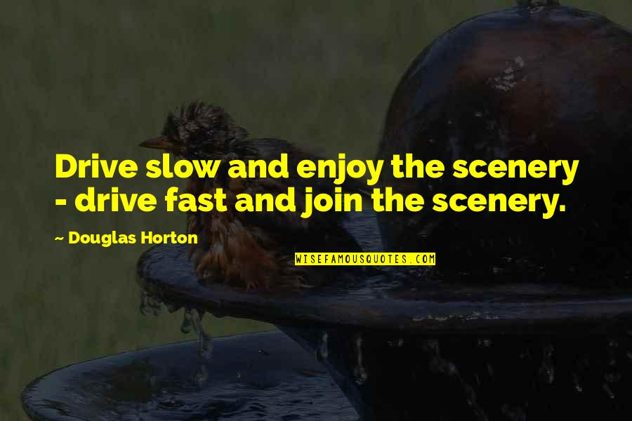 Weird Inappropriate Quotes By Douglas Horton: Drive slow and enjoy the scenery - drive