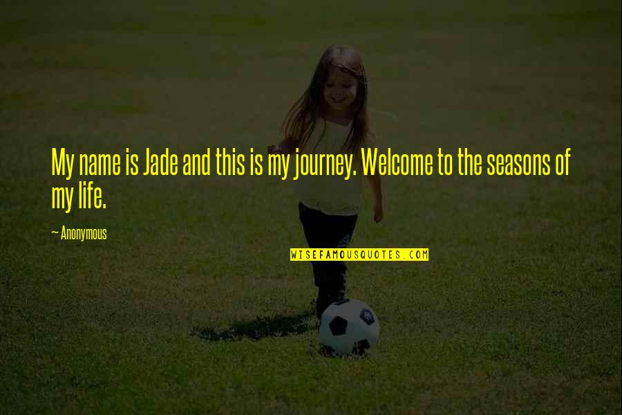 Welcome Into My Life Quotes By Anonymous: My name is Jade and this is my
