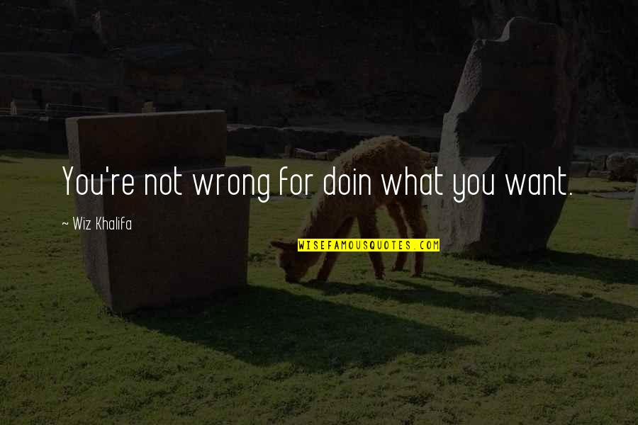 Welcoming 2016 Quotes By Wiz Khalifa: You're not wrong for doin what you want.