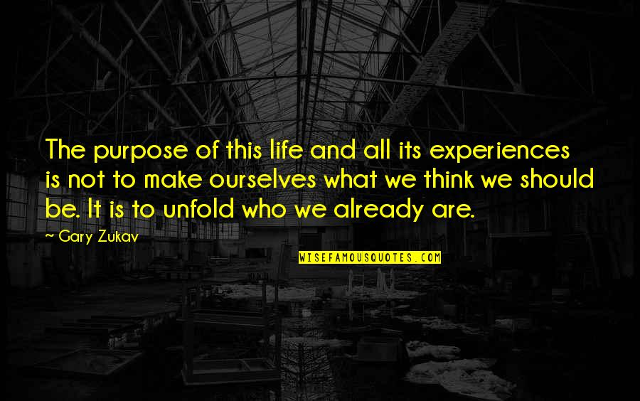 We'll Make It Quotes By Gary Zukav: The purpose of this life and all its