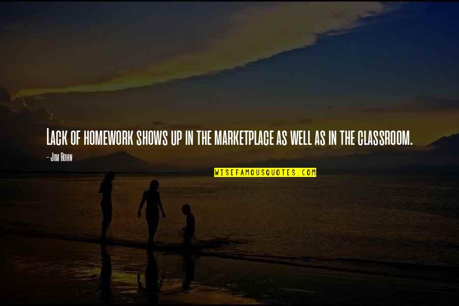 Wells Quotes By Jim Rohn: Lack of homework shows up in the marketplace