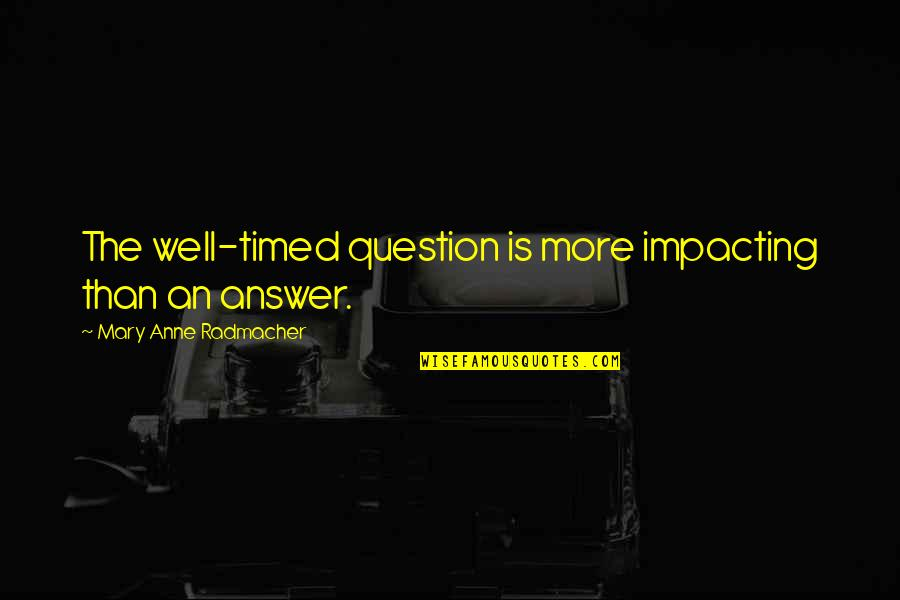 Wells Quotes By Mary Anne Radmacher: The well-timed question is more impacting than an
