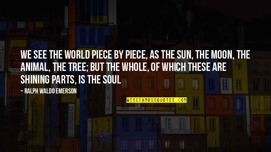 We'moon Quotes By Ralph Waldo Emerson: We see the world piece by piece, as