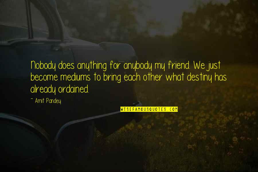 We're Just Friend Quotes By Amit Pandey: Nobody does anything for anybody my friend. We