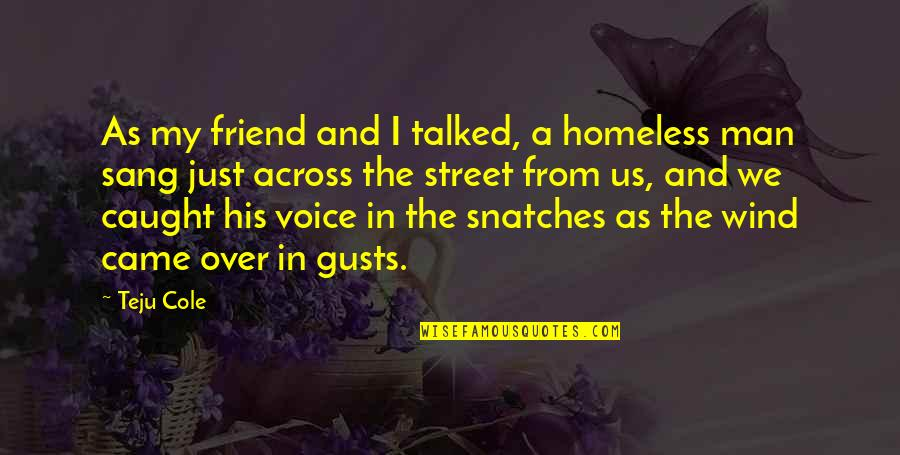 We're Just Friend Quotes By Teju Cole: As my friend and I talked, a homeless