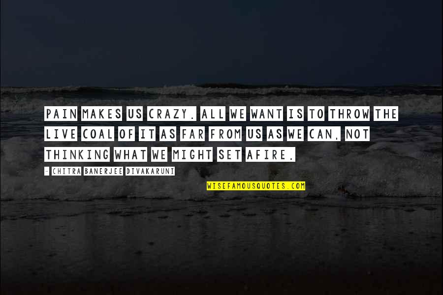 We're Not Crazy Quotes By Chitra Banerjee Divakaruni: Pain makes us crazy. All we want is