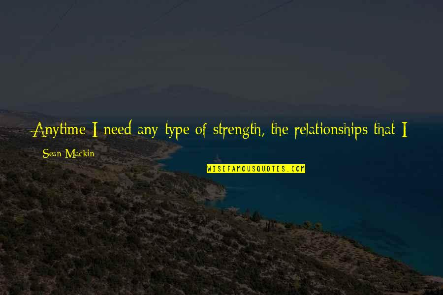 Were The Type Of Friends Quotes By Sean Mackin: Anytime I need any type of strength, the