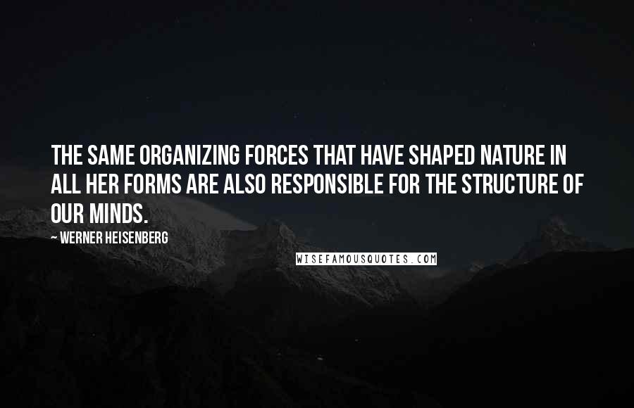 Werner Heisenberg quotes: The Same organizing forces that have shaped nature in all her forms are also responsible for the structure of our minds.