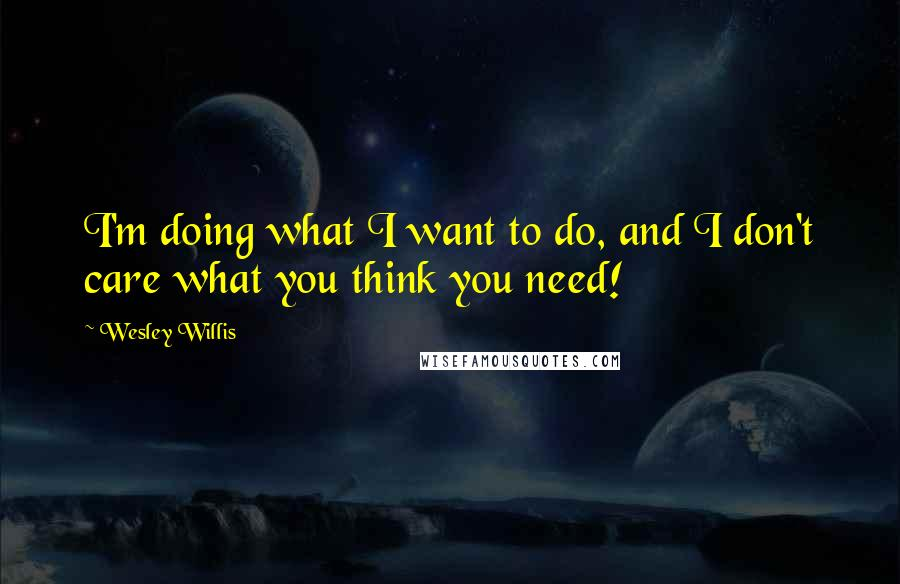 Wesley Willis quotes: I'm doing what I want to do, and I don't care what you think you need!