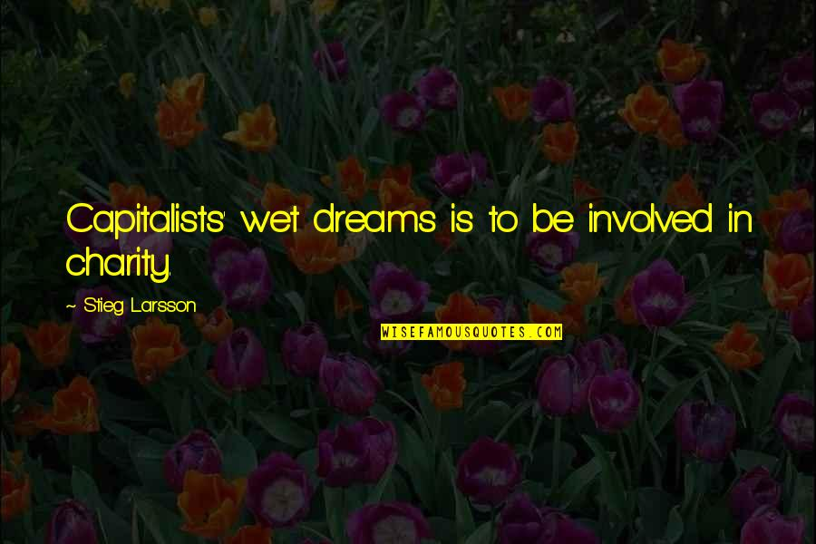 Wet Dreams Quotes By Stieg Larsson: Capitalists' wet dreams is to be involved in