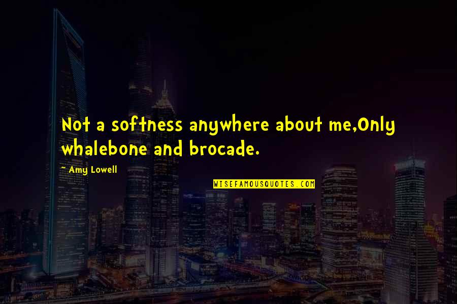 Whalebone Quotes By Amy Lowell: Not a softness anywhere about me,Only whalebone and