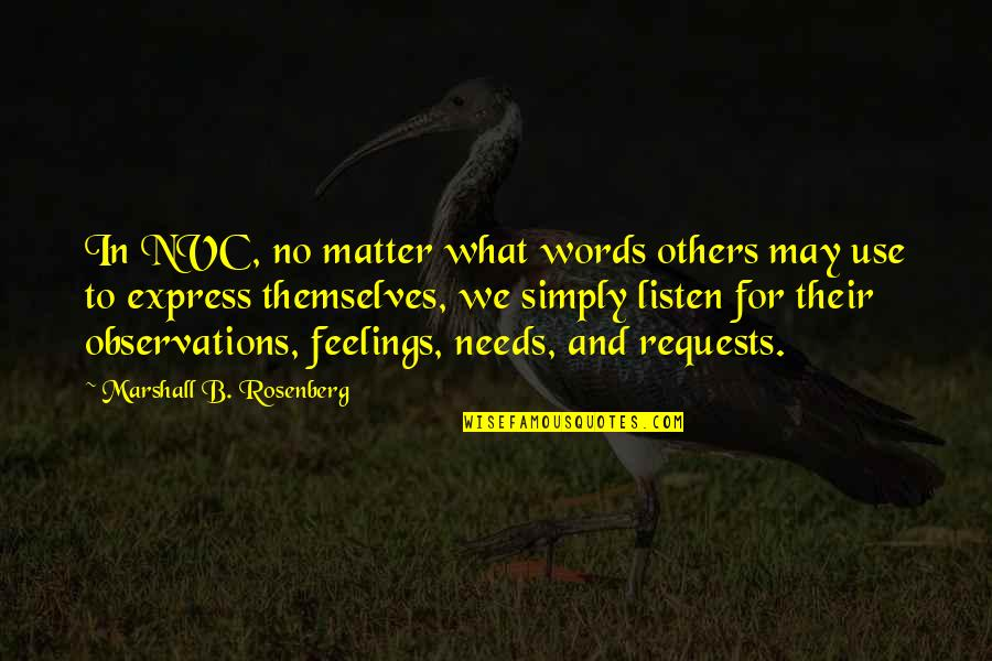 What Are These Feelings Quotes By Marshall B. Rosenberg: In NVC, no matter what words others may