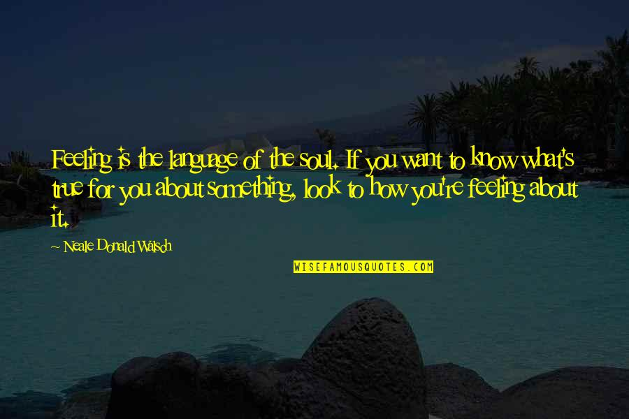 What Are These Feelings Quotes By Neale Donald Walsch: Feeling is the language of the soul. If
