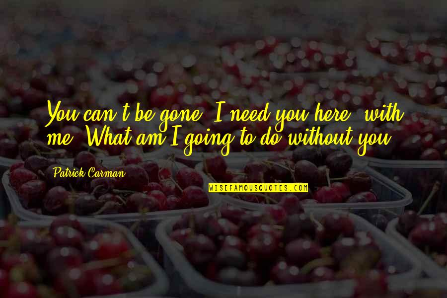 What Can You Do For Me Quotes By Patrick Carman: You can't be gone. I need you here,